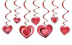 Parti Dünyası - Kalpler Tavan Süsü 3 D 12 Adet