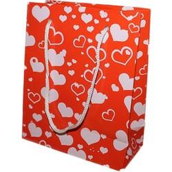 Parti Dünyası - Kırmızı Kalp Büküm Saplı Hediye Çantası 32 x 40 cm