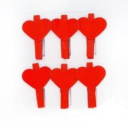 Parti Dünyası - Kırmızı Kalp Mandallar 6 Adet
