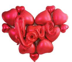 Parti Dünyası - Kırmızı Kalpler ve Love Yazılı Folyo Balon Set