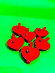Parti Dünyası - Kırmızı Kalpli Uğur Böceği Mandallar 6 Adet