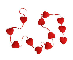 Parti Dünyası - Kırmızı Minik Kalpli Garlent Süs En 5 cm Boy 160 cm