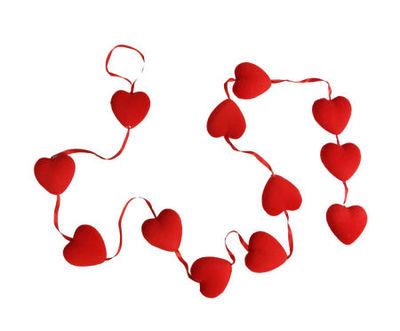 Kırmızı Minik Kalpli Garlent Süs En 5 cm Boy 160 cm