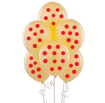 Parti Dünyası - Kırmızı Puanlı Şeffaf 10 lu Latex Balon