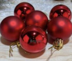 Parti Dünyası - Kırmızı Renk Çam Ağacı Süs Topu 4cm 6 Adet