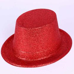 Parti Dünyası - Kırmızı Simli Parlak Fötr Şapka