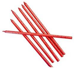 Parti Dünyası - Kırmızı Renk Simli Uzun Sönmeyen Mum 6 Adet 14 cm