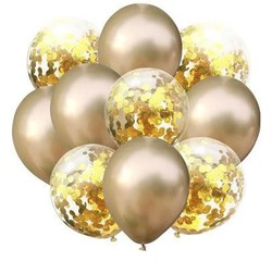 Parti - Konfetili Altın Balon Demeti 10 Adet