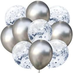 Parti Dünyası - Konfetili Gümüş Balon Demeti 10 Adet