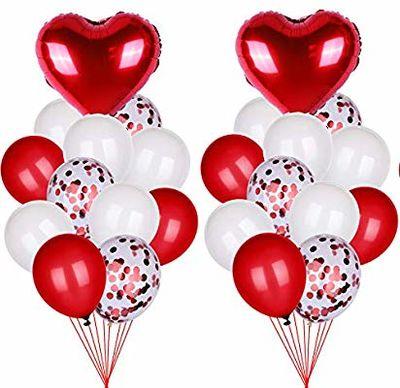 Konfetili Latex ve Kalp Folyo Balon Demeti 22 Adet