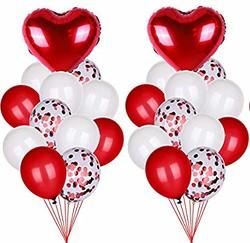 Parti Dünyası - Konfetili Latex ve Kalp Folyo Balon Demeti 22 Adet