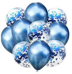 Parti Dünyası - Konfetili Mavi Balon Demeti 10 Adet