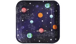 Parti Dünyası - Kozmik Galaksi Kare Tabak 8 Adet 18 cm