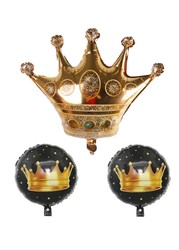 Parti Dünyası - Kral Tacı Happy Birthday Folyo Balon Seti 3 Adet