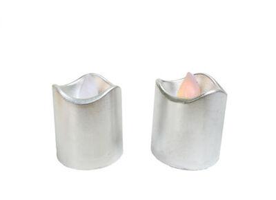Led Işıklı Gümüş Renk Mum Pilli 3,5x4,5 cm