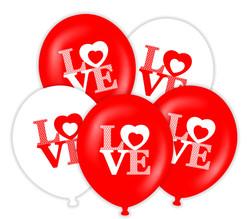 Parti - Love Kırmızı Beyaz 20 Li Latex Balon