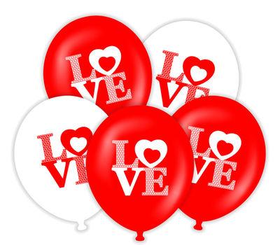 Love Kırmızı Beyaz 50 Li Latex Balon