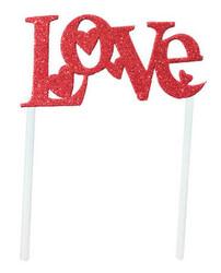 Parti Dünyası - LOVE Kırmızı Pasta Süsü Eve Malzemeden 14x17cm
