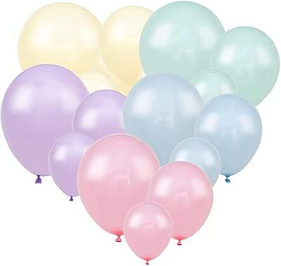 Makaron Karışık Renklerde 10 Lu latex Balon Küçük Boy