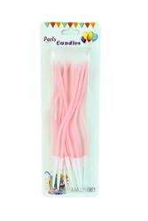 Parti Dünyası - Makaron Pembe Renk Spiral Mum 12 Adet 17 cm