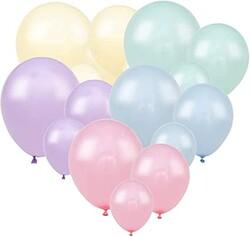 Parti Dünyası - Makaron Soft Renkler Karışık Latex Balon 100 Adet Normal Boy