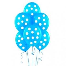 Parti Dünyası - Mavi Beyaz Puanlı 10 lu Latex Balon