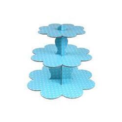 Parti Dünyası - Mavi Beyaz Puantiyeli Cupcake standı