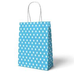 Parti - Mavi Puanlı Büküm Saplı Hediye Çantası 22 x 24 cm