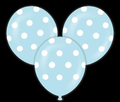 Mavi Puanlı Çepeçevre Baskılı Balon 10 Adet