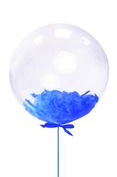 Parti Dünyası - Mavi Tüylü Şeffaf Balon 45 cm