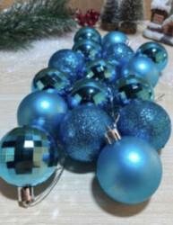 Parti Dünyası - Mavi Yılbaşı Çam Ağacı Top Süsü 6cm 16 adet