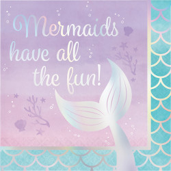 Parti Dünyası - Mermaids Have all the Fun Yaldızlı Peçete 16 Adet
