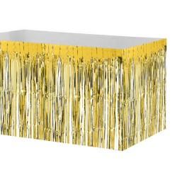 Parti Dünyası - Metalik Altın Püsküllü Masa Eteği 75 x 400 cm