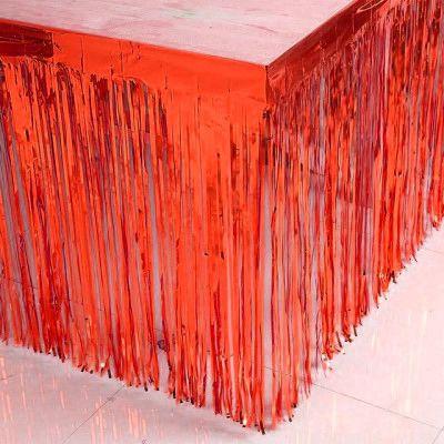Metalik Kırmızı Püsküllü Masa Eteği