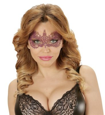 Metalik Pembe-Mor Dantelli Şık Maske
