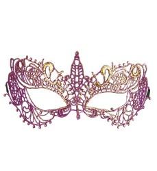 Parti Dünyası - Metalik Pembe-Mor Dantelli Şık Maske