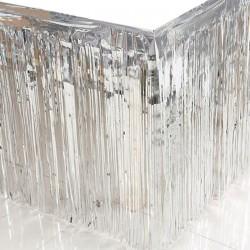 Parti Dünyası - Metalik Püsküllü Gümüş Masa Eteği 75x400 cm