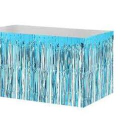 Parti Dünyası - Metalik Püsküllü Koyu Mavi Masa Eteği 75 x 400 cm