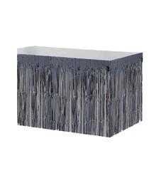 Parti Dünyası - Metalik Püsküllü Siyah Masa Eteği 75 x 400 cm
