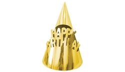 Parti Dünyası - Metalize Gold Happy Birthday Karton Şapka 6 Adet
