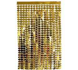Parti Dünyası - Metalize Gold Kalpli Kapı Perdesi - Duvar Fonu