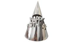 Parti Dünyası - Metalize Gümüş Happy Birthday Karton Şapka 6 Adet
