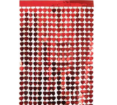 Metalize Kırmızı Kalpli Kapı Perdesi / Duvar Fonu