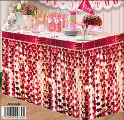 Parti Dünyası - Metalize Kırmızı Kalpli Masa Eteği 75 x 450 cm