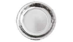 Parti Dünyası - Metalize Renk Gümüş Tabak 23 cm 8 Adet