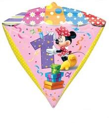 Parti Dünyası - Minnie Mouse 1 Yaş Elmas Şekilli Folyo Balon