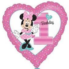 Parti Dünyası - Minnie Mouse 1 Yaş Folyo Balon 45 cm