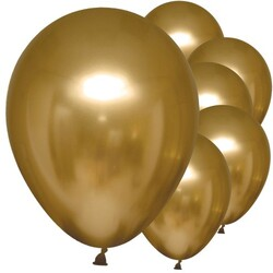 Parti Dünyası - Mirror Krom Balon Altın Renk 50 Adet