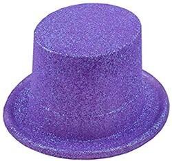 Parti Dünyası - Mor Simli Parlak Fötr Şapka