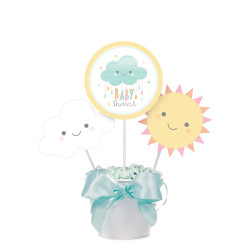 Parti Dünyası - Mutlu Bulutlar Baby Shower Masa Orta Süsü Çubuklu 3 Adet